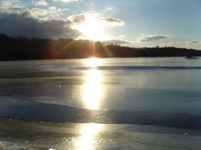 Sunrise over the ice in January