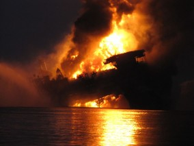 Deepwater Horizon explodes, burns and sinks on Earth Day 2010