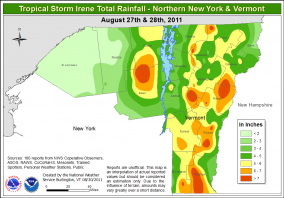 Tropical Storm Irene total rainfall - northern NY and Vermont