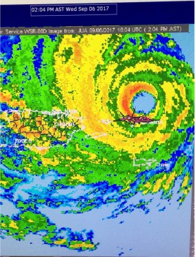 Hurricane IRMA as the eyewall grazes the north shore of St Thomas, USVI with 180 mph winds